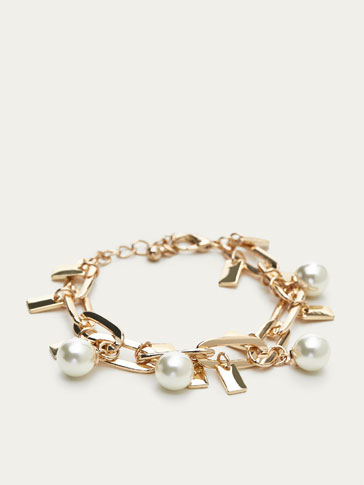 BRACELET WITH FAUX PEARL DETAILS