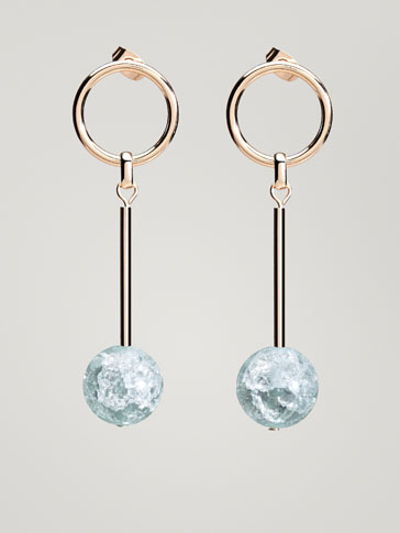 EARRINGS WITH HOOP AND SPHERE