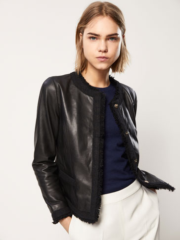 NAPPA LEATHER JACKET WITH EMBELLISHED DETAILS