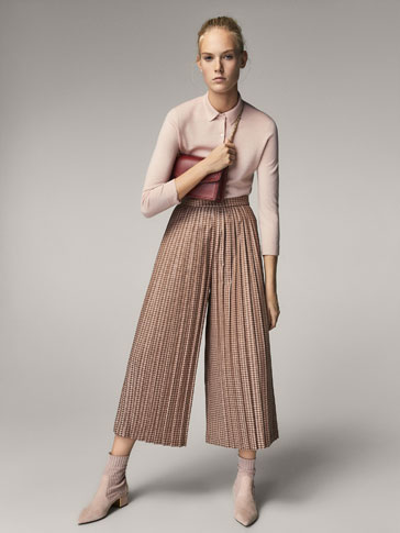 CULOTTE FIT PLEATED HOUNDSTOOTH TROUSERS