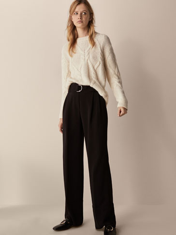 FLOWING TROUSERS WITH BELT DETAIL