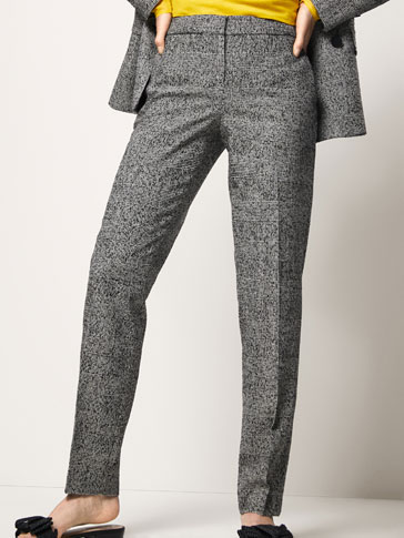 SLIM FIT CHECKED WOOL SUIT TROUSERS