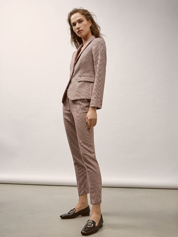 SLIM FIT HOUNDSTOOTH SUIT TROUSERS