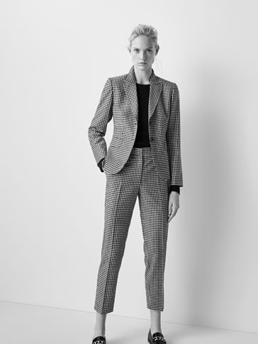 SLIM FIT GINGHAM CHECK SUIT TROUSERS