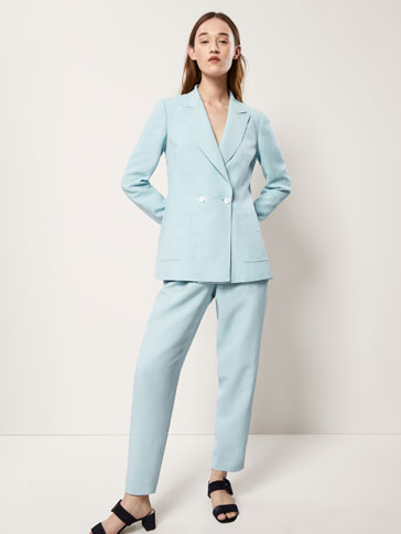 SLIM FIT LINEN SUIT TROUSERS WITH GATHERED DETAIL