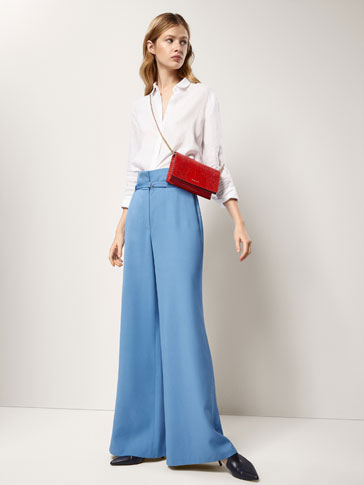 PALAZZO TROUSERS WITH BELT DETAIL