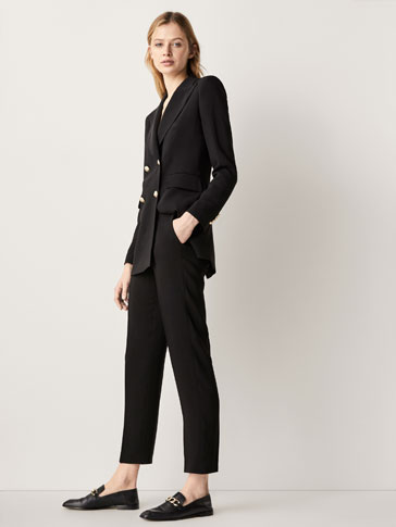 SLIM FIT CREPE SUIT TROUSERS