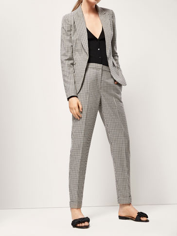 SLIM FIT GINGHAM CHECK WOOL SUIT TROUSERS