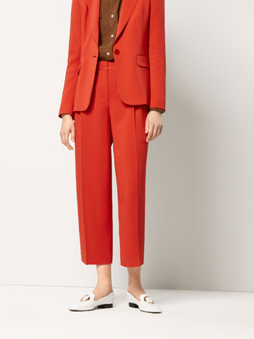 CROPPED FIT CREPE SUIT TROUSERS