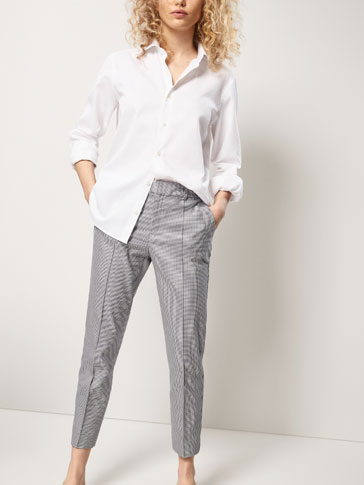 HOUNDSTOOTH COTTON CHINOS