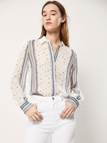 SHIRT WITH A PLACEMENT POLKA DOT AND STRIPED PRINT