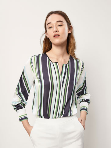 STRIPED BLOUSE WITH SATIN DETAILS