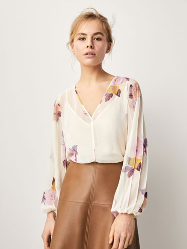 FLORAL PRINT SHIRT WITH PLEATED DETAIL
