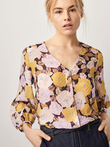 SILK FIL COUPÉ SHIRT WITH FLORAL PRINT