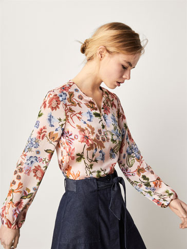 FLORAL PRINT SHIRT WITH ZIP DETAIL
