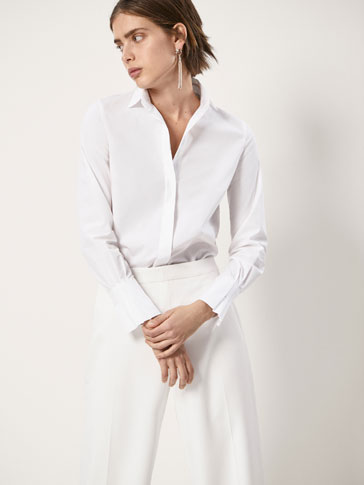 COTTON SHIRT WITH PLEATED SLEEVES