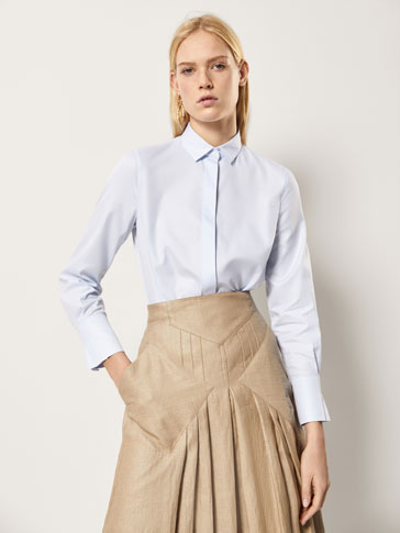 SHIRT WITH PLEATED SLEEVE DETAIL