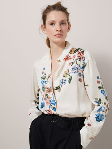 FLORAL PRINT SHIRT WITH BUTTON DETAILS