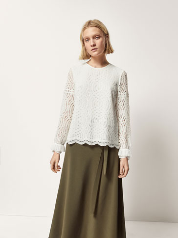 GUIPURE TOP WITH PLEATED AND SCALLOPED DETAILS