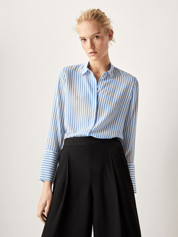 STRIPED SILK SHIRT WITH SLIT DETAILS