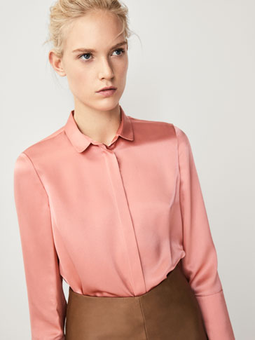 SILK SHIRT WITH SCALLOPED DETAILS