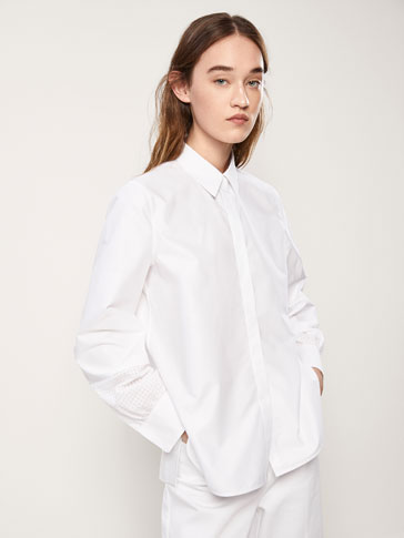 COTTON SHIRT WITH CHECK-TEXTURED WEAVE DETAIL