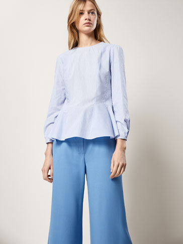 STRIPED POPLIN SHIRT WITH SEAM DETAILS