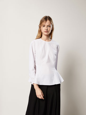 PLAIN POPLIN SHIRT WITH SEAM DETAILS