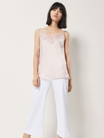 SILK TOP WITH LACE AND GROSGRAIN DETAIL