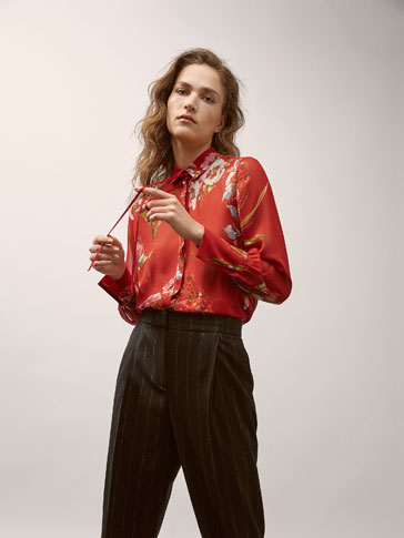 GEORGETTE SHIRT WITH FLORAL PRINT AND GROSGRAIN DETAIL