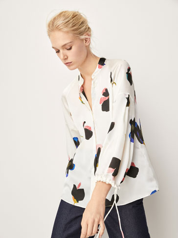 FLORAL PRINT SILK SHIRT WITH BOW DETAIL