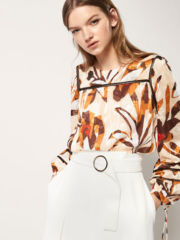 JACQUARD SHIRT WITH LACE TRIM DETAIL