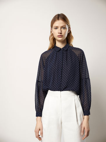 FLOCKED POLKA DOT SHIRT WITH GATHERING DETAIL