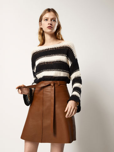 NAPPA LEATHER SKIRT WITH SEAM DETAILS