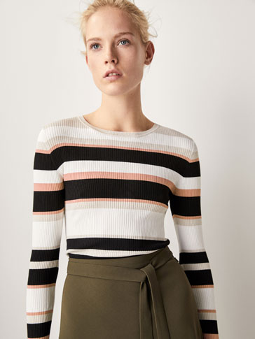 RIBBED SWEATER WITH STRIPES