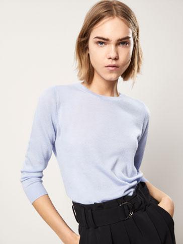 قميص صوف 100% كشمير ياقة دائرية