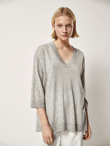 WOOL CAPE-STYLE SWEATER