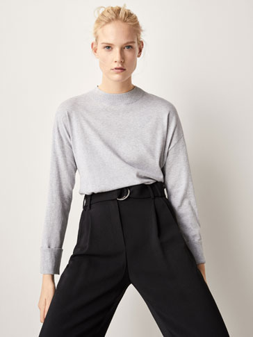 SILK/COTTON SWEATER WITH TURN-UP CUFFS