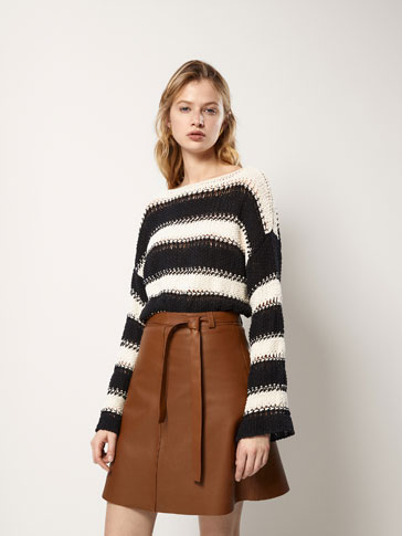COTTON SWEATER WITH A STRIPED TEXTURED WEAVE