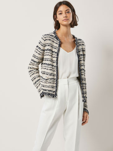 CARDIGAN WITH FRAYED EDGE DETAIL