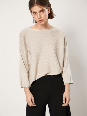 CAPE-STYLE RIBBED SWEATER