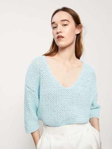 CAPE-STYLE COTTON SWEATER WITH A TEXTURED WEAVE