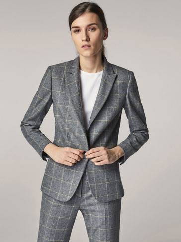 SLIM FIT CHECKED WOOL SUIT BLAZER