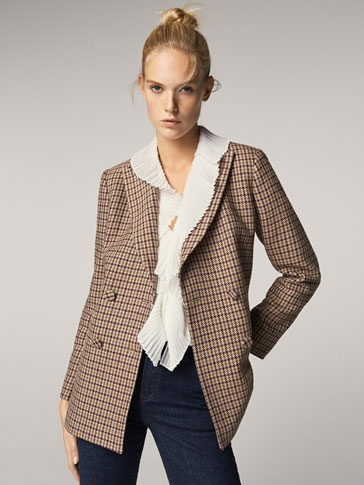 SLIM FIT HOUNDSTOOTH JACKET WITH DOUBLE-BREASTED DETAIL