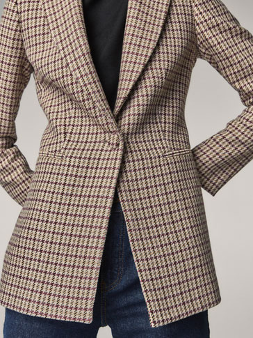 SLIM FIT HOUNDSTOOTH JACKET