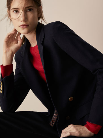SLIM FIT WOOL BLAZER WITH PIPED SEAMS