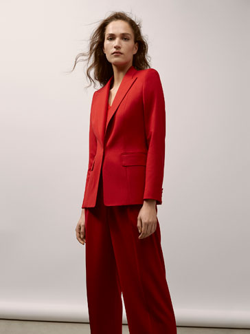 SLIM FIT RED WOOL SUIT BLAZER