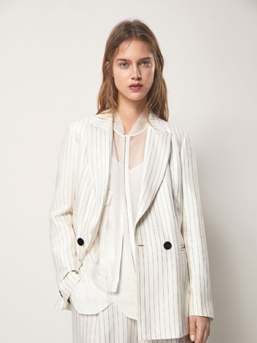 SLIM FIT PINSTRIPED BLAZER