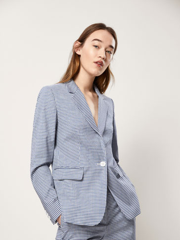 SLIM FIT GINGHAM CHECK WOOL SUIT BLAZER