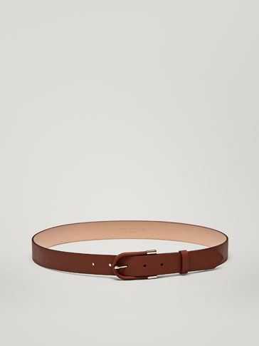 LEATHER BELT WITH LINED DETAIL